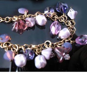 purple lavender brass bracelet